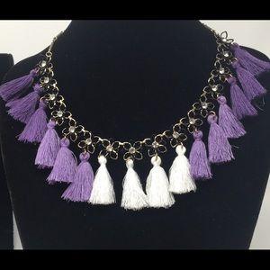 Rhinestone Flower Purple Ombré TASSEL Earrings